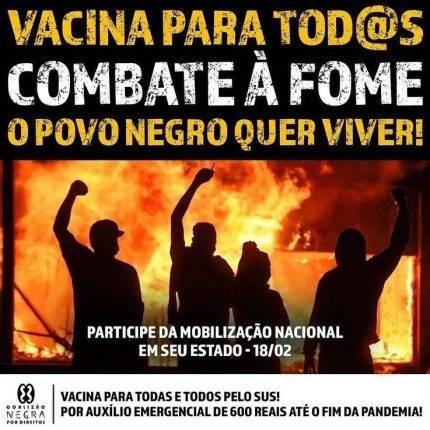 Por auxílio de 600 reais até o fim da pandemia e por vacina para todas/os pelo SUS!