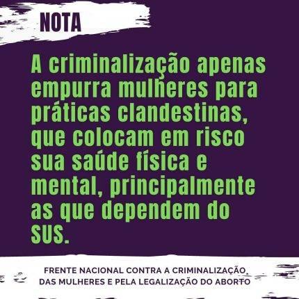 Nota da Frente Nacional contra a Criminalização das Mulheres e pela Legalização do Aborto (2020)