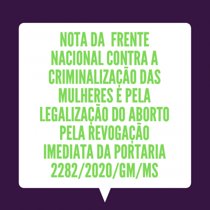 Nota da FNPLA Pela Revogação Imediata da Portaria 2282/2020/GM/MS (2020)